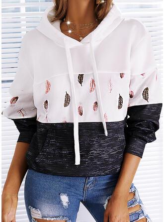 Print Color Block Hooded Long Sleeves Hoodie