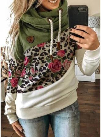 Color Block Floral Leopard Long Sleeves Hoodie