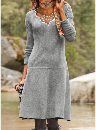 Solid Knit Long Sleeves Sheath Sweater Casual Midi Dresses