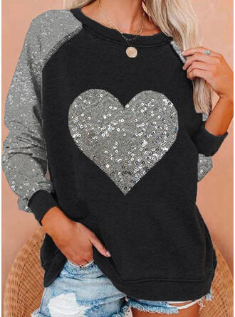 Color Block Sequins Heart Round Neck Long Sleeves Sweatshirt