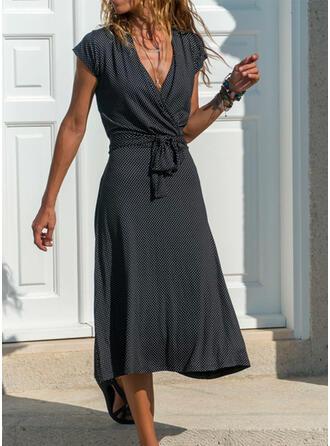 Print Short Sleeves A-line Wrap/Skater Casual Midi Dresses
