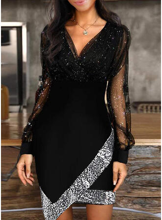 Sequins/Solid Long Sleeves Sheath Above Knee Casual/Party Dresses