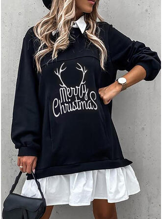 Print Long Sleeves Shift Above Knee Christmas/Casual Dresses