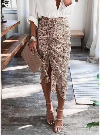 Polyester Print Animal Print Mid-Calf Bodycon Skirts Asymmetrical