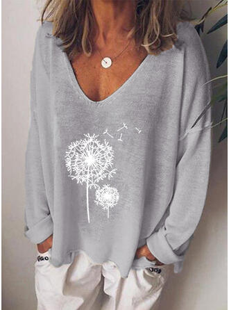 Print Dandelion V-Neck Long Sleeves Casual Knit T-shirts