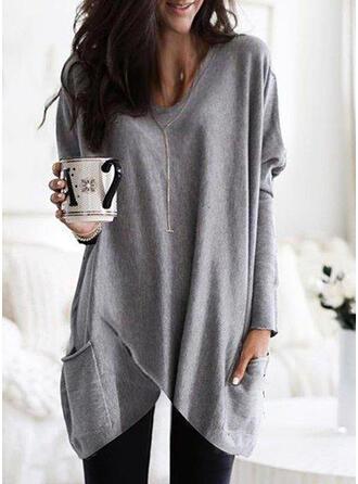 Solid Round Neck Long Sleeves Sweatshirt