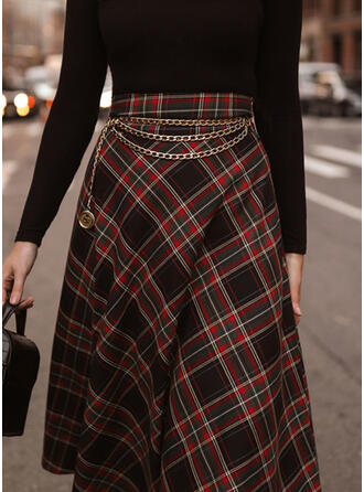 Cotton Blends Plaid Mid-Calf A-Line Skirts