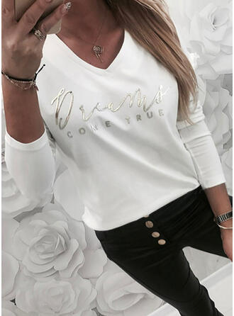 Print Letter V-Neck Long Sleeves Casual T-shirts