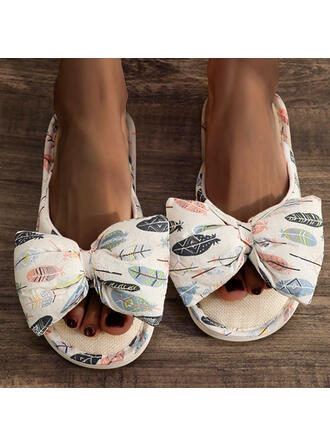Women's Microfiber Flat Heel Sandals Flats Peep Toe Slippers Square Toe With Bowknot Splice Color shoes