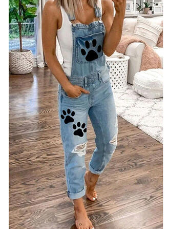 Animal Print Pockets Plus Size Ripped Casual Solid Denim & Jeans Jumpsuits & Rompers