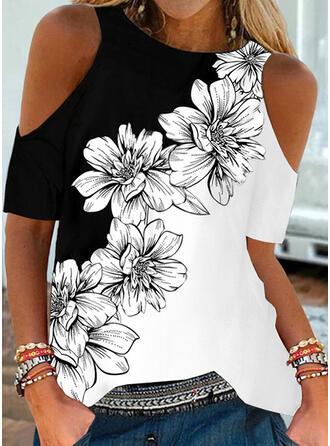 Color Block Floral Print Cold Shoulder Short Sleeves T-shirts