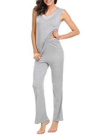 V-Neck Sleeveless Solid Color Casual Top & Pants Sets
