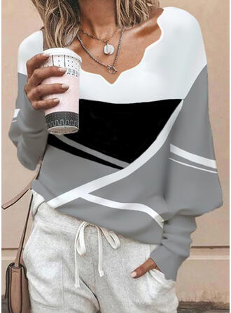 Color Block V-Neck Long Sleeves Lantern Sleeve Casual Blouses