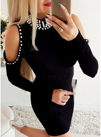 Solid/Beaded Long Sleeves Bodycon Above Knee Little Black/Elegant Dresses