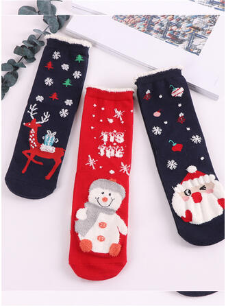 Print Breathable/Comfortable/Christmas/Crew Socks/Unisex Socks 3-pairs