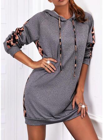 Print Long Sleeves Raglan Sleeve Shift Above Knee Casual Sweatshirt Dresses