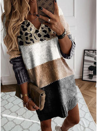 Print/Color Block/Leopard Long Sleeves Dropped Shoulder Shift Above Knee Casual Sweater Dresses