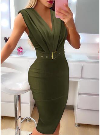 Solid Sleeveless Bodycon Knee Length Elegant Dresses