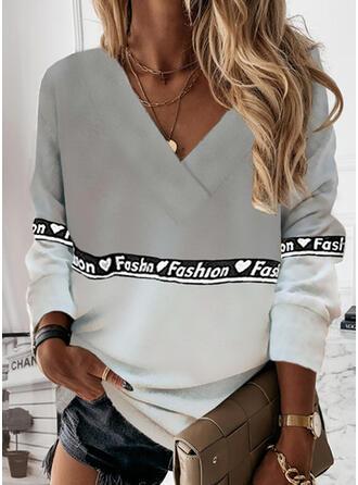 Print Color Block Heart Letter V-Neck Long Sleeves Sweatshirt