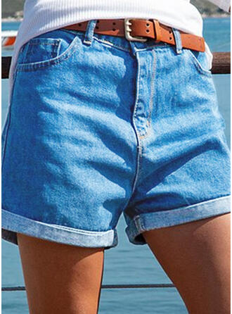 Solid Cotton Above Knee Vintage Plus Size Pocket Shirred Pants Shorts Denim & Jeans