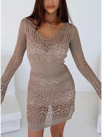 Solid Hollow-out V-Neck Long Sexy Sweater Dress
