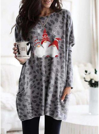 Print Leopard Round Neck Långa ärmar Jultröja
