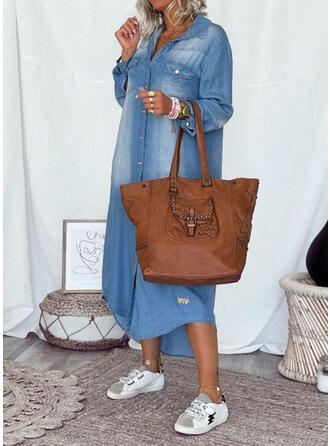 Solid Denim Long Sleeves Shift Casual Maxi Dresses