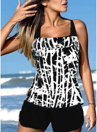Stripe Splice color Strap U-Neck Retro Boho Tankinis Swimsuits