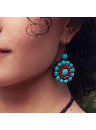 Fashionable Boho Alloy Turquoise Braided Rope Women's Earrings