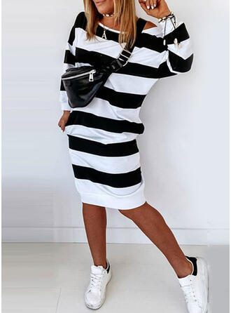 Striped Long Sleeves Sheath Knee Length Casual Sweatshirt Dresses