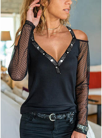 Solid Sequins PolkaDot Cold Shoulder Long Sleeves Casual Blouses