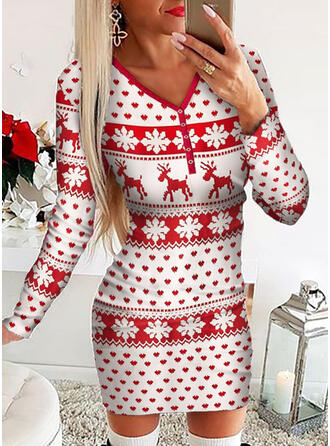 Animal Print Long Sleeves Bodycon Above Knee Christmas/Casual Dresses
