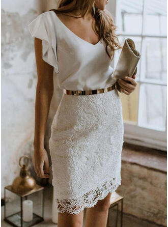 Solid Lace Short Sleeves Ruffle Sleeve Bodycon Above Knee Elegant Dresses