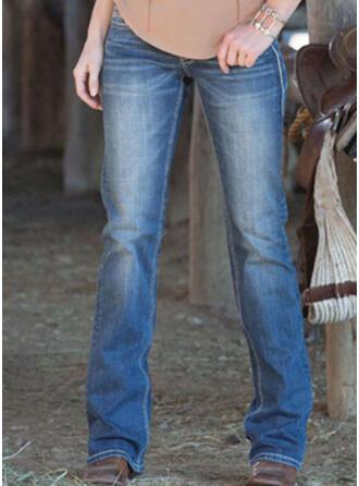 Solid Long Casual Vintage Plus Size Pocket Shirred Pants Denim & Jeans
