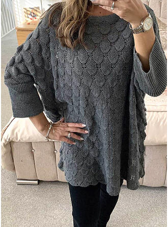 Solid Round Neck Casual Tröjor