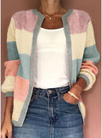 polyester Långa ärmar Color Block Cardigans