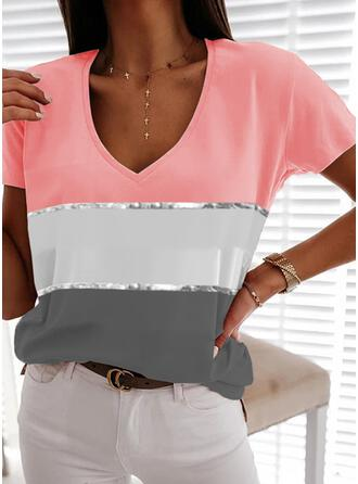 Color Block Sequins V-Neck Short Sleeves T-shirts