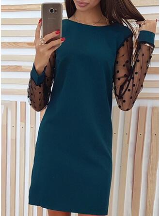 Solid/PolkaDot Long Sleeves Shift Above Knee Little Black/Elegant Dresses