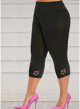 Solid Capris Casual Pants Leggings